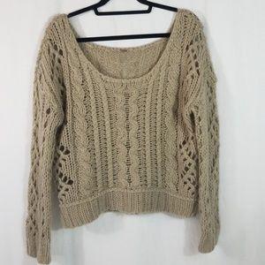 Free People Crop Crochet Sweater